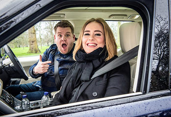 """Adele joins James Corden for Carpool Karaoke on """"The Late Late Show with James Corden,"""" Wednesday, January 13th, 2016 (12:37 -- 1:37 AM, ET/PT) on the CBS Television Network. Photo: Craig Sugden/CBS Broadcasting, Inc. All Rights Reserved"""