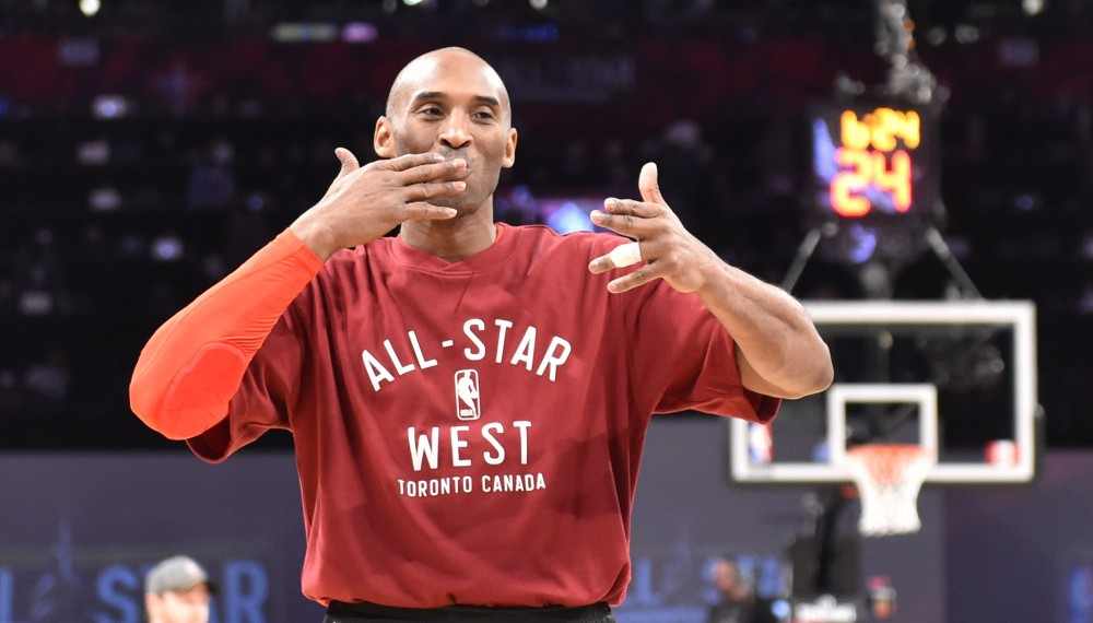Feb 14, 2016; Toronto, Ontario, CAN; Western Conference forward Kobe Bryant of the Los Angeles Lakers (24) blows kisses before the NBA All Star Game at Air Canada Centre. Mandatory Credit: Bob Donnan-USA TODAY Sports ORG XMIT: USATSI-263808 ORIG FILE ID: 20160214_jel_sd2_052.jpg